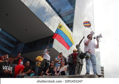 Caracas/Venezuela-April 07, 2018: Opposition leaders against Nicolas Maduro dictatorship government speaking to people during a rally demonstration in Altamira square one of the meeting points