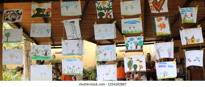 Caracas/Venezuela-April 22, 2018: Art exhibition drawings by scholar kids on the earth day showcasing nature and environmental issues