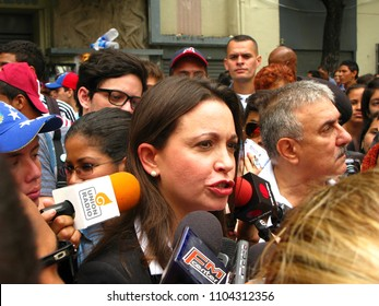 Caracas/Venezuela-February 11th, 2014: Opposition leader and ousted lawmaker Maria Corina Machado during a 2014 street protest movement that lead Leopoldo Lopez to jail