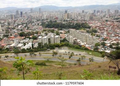 Caracas/Venezuela-January 03, 2017: Stunning view of Caracas capital city downtown with main business buildings from majestic El Avila mountain Venezuela