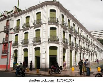 Caracas/Venezuela-January 13, 2017: Historic Building of the Old Colonial  Monastery Hotel Leon de Oro, Downtown Caracas, San Jacinto Corner. Historic Center, Venezuela