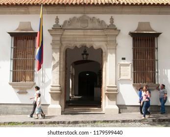 Caracas/Venezuela-January 15, 2017: The Bolivarian Museum facade dedicated to Simón Bolívar hero of Latin American. The collections include items related to Bolivar and Venezuelan independendence