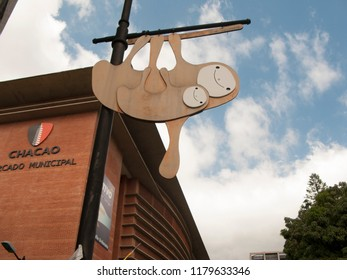 Caracas/Venezuela-January 15, 2017: The new building of Chacao market, famous gods trade center in Caracas with sloth street sculpture