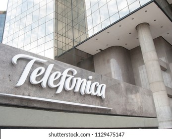 Caracas/Venezuela-July 03, 2017: The exterior and logo of modern building of telecommunications operator Telefonica Movistar headquarters in Caracas