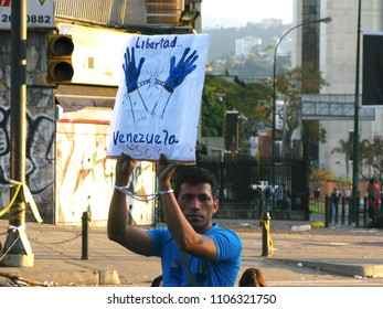 Caracas/Venezuela-November 20, 2017: Human rights groups protests over a law passed to curb hate in social media will silence anyone critical of Maduro's government threatening freedom speech
