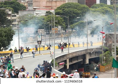 Caracas/Venezuela-The mother of all protests in Venezuela against Nicolas Maduro government. Militar police began firing tear gas at protesters 04/26/2017