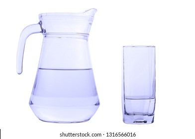 Carafe and glass with crystal clear water