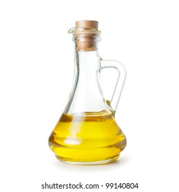carafe of olive oil on white background. Isolated path included.