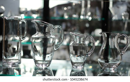 Carafes at shop window