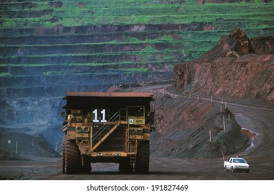 Carajas, Para, Brazil - 2010: Carajas Mine, largest iron ore mine in the world, located in Para, Brazil. The mine is operated as an open-pit mine, estimated to contain 7.2 billion tons of iron ore