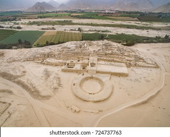 CARAL, BARRANCA, PERU: Aerial drone view of Caral city.