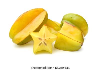 Carambola fruit with slices isolated on white background