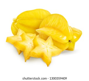 Carambola isolated, star apple or yellow starfruit on white background. Whole and slice star fruit. Clipping path included.