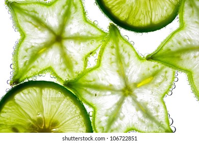 Carambola and lime in the water