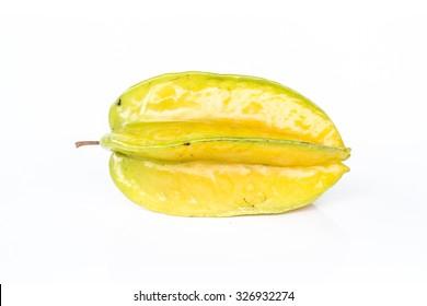 Carambola on white background.Star apple, star fruit.