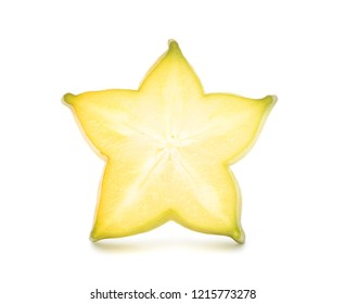 Carambola or Star fruit sliced isolated on white background with clipping path. (Averrhoa carambola, star apple, starfruit)