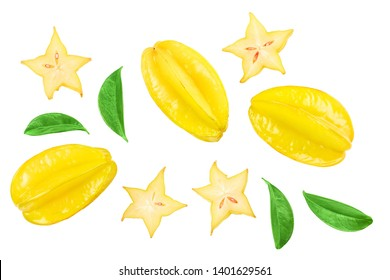 Carambola or star-fruit with leaf isolated on white background. Top view. Flat lay