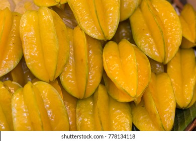 Carambola; well known as Star apple or Star fruit is the fruit of Averrhoa carambola put in the basket