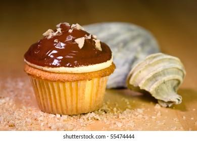 Caramel Buttercream and Smoked Sea Salt Cupcake