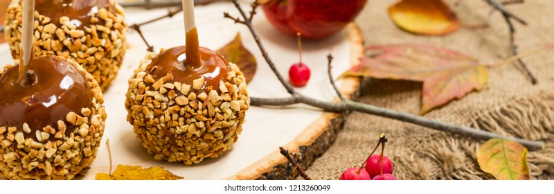 Caramel Candy Apple. Panoramic image. Selective focus.