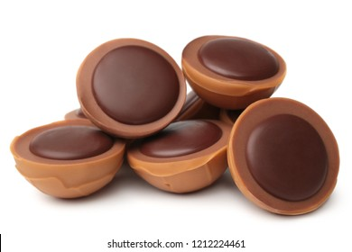 Caramel candy with chocolate on white background