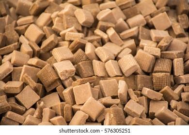 Caramel candy squares in bulk