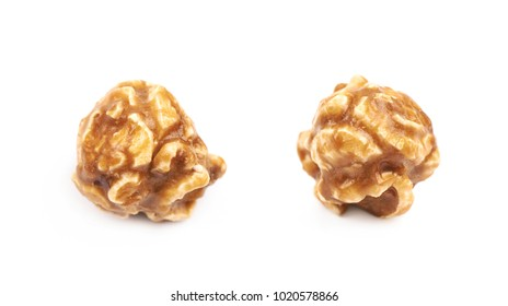 Caramel coated sweet popcorn isolated over the white background , set of several different foreshortenings