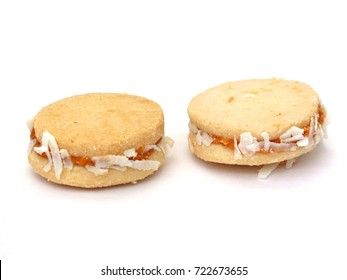 caramel cookie colombian desert alfajor with coconut and milk sweet