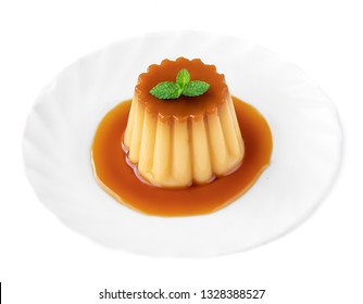 Caramel custard pudding with mint and caramel syrup on a plate  isolated on white background. Flan dessert made of eggs