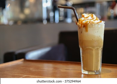 Caramel frappe coffee in the coffee shop bangkok thailand.