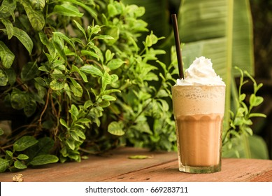 Caramel frappe coffee in the coffee shop bangkok thailand,ice coffee.