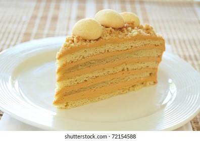 Caramel medovik cake made with honey and caramel cream