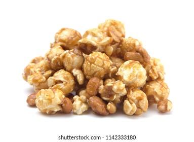 Caramel and Peanut Popcorn on a White Background
