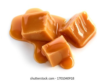 caramel pieces isolated on white background