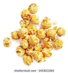 Caramel Popcorn isolated on white background. Pile of Salt Popcorn. Top view