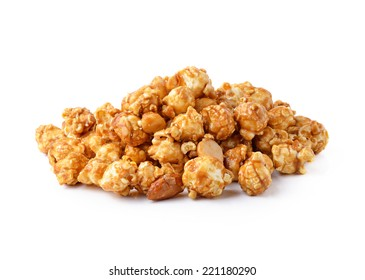 caramel popcorn isolated on white background