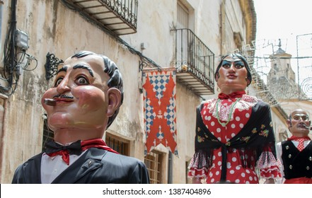 Caravaca de la Cruz, Spain May 2, 2019: Giants Parade at the festivity Caballos del vino or Horses of wine in Caravaca.