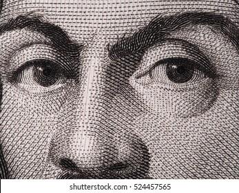 Caravaggio face on 100000 italian lire banknote extreme macro.