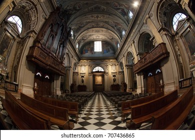 Caravaggio, Italy - 08/17/2017: Fish eye view of the interior church of Caravaggio Sanctuary, no people are visible.