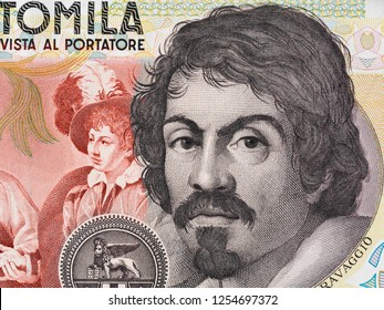 Caravaggio portrait on 100000 italian lire banknote closeup. One of the greatest and innovative painter of the Renaissance.
