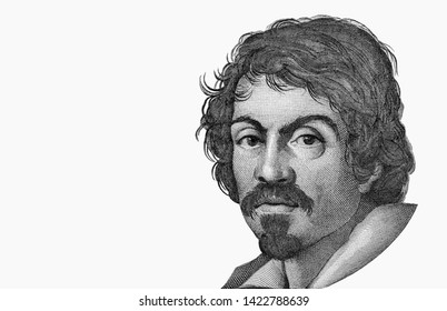 Caravaggio portrait on 100000 italian lire banknote. one of the greatest and innovative painter of the Baroque. italian money. Close Up UNC Uncirculated Collection.