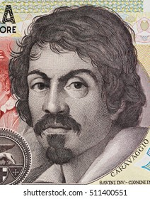 Caravaggio portrait on 100000 italian lire banknote closeup macro. One of the greatest and innovative painter of the Baroque.