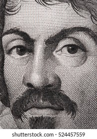 Caravaggio portrait on 100000 italian lire banknote macro. One of the greatest and innovative painter of the Italy Renaissance.