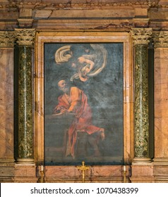 """Caravaggio, """"The Inspiration of Saint Matthew"""", in the Church of Saint Louis of the French in Rome, Italy. November-18-2017"""