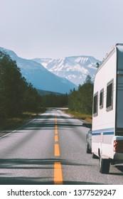 Caravan camper road trip travel in Norway RV trailer summer vacations family journey van life weekend