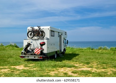 caravan car holidays by the sea in the spring