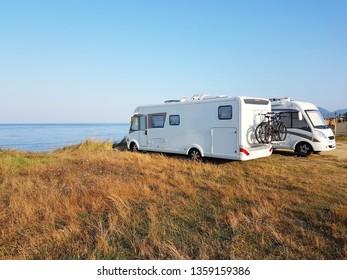 caravan car summer holidays by the sea sunny morning