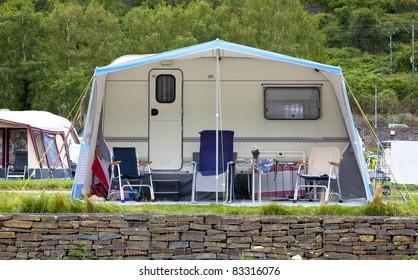 caravan on a camping in germany