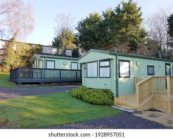 Caravan park camping,Mobile house building of plastic materials gypsum and wood, the house is static in the middle of beautiful nature.  Bedale Yorkshire England, 02.28.2021.