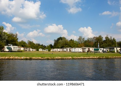 Caravan park at the waterfront in Friesland, the Netherlands